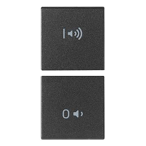 2 halve knoppen 1M symbool audio on/off grijs
